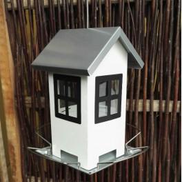 Smart Foderautomat til vildtfuglefoder, Hvidt hus med sorte vindue. RW12