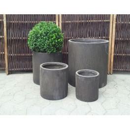 Runde krukker i brun fiberstone